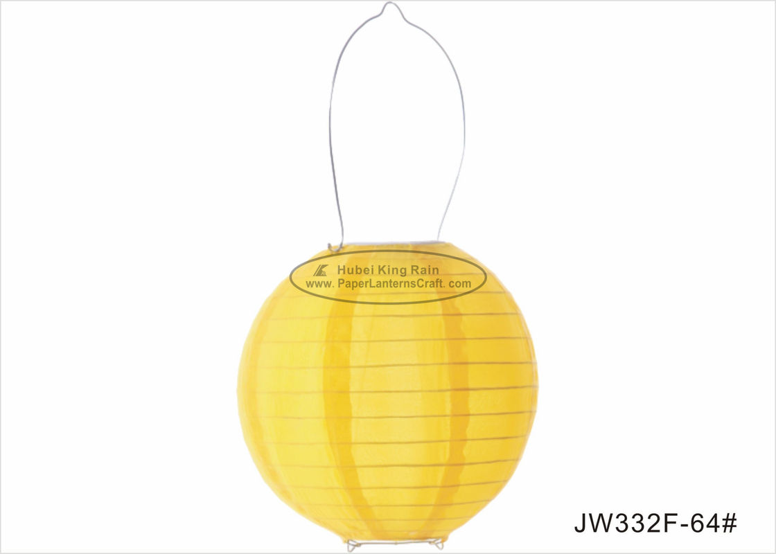 buy 20cm Yellow Metal Hanging Led Paper Lantern Lights Battery Powered OEM ODM online manufacturer