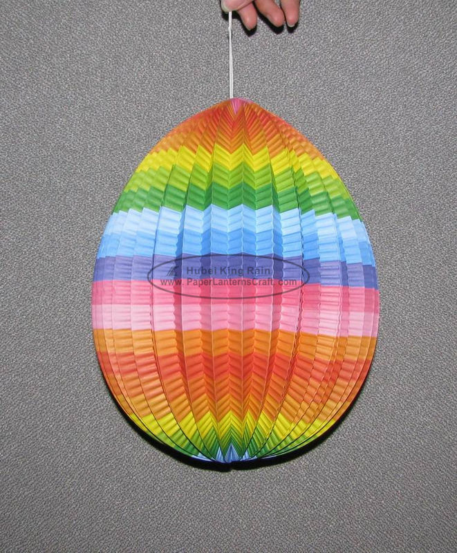 Multi Color Paper Easter Decorations , Easter Egg Paper Lanterns Craft With Custom Fancy