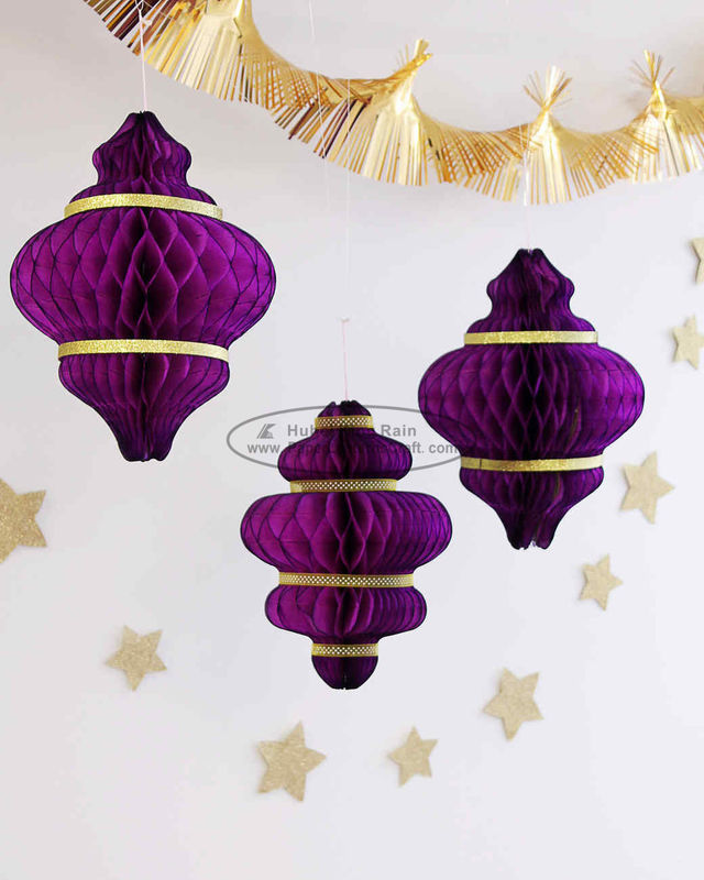 Purple handmade paper christmas ornaments paper honeycomb custom