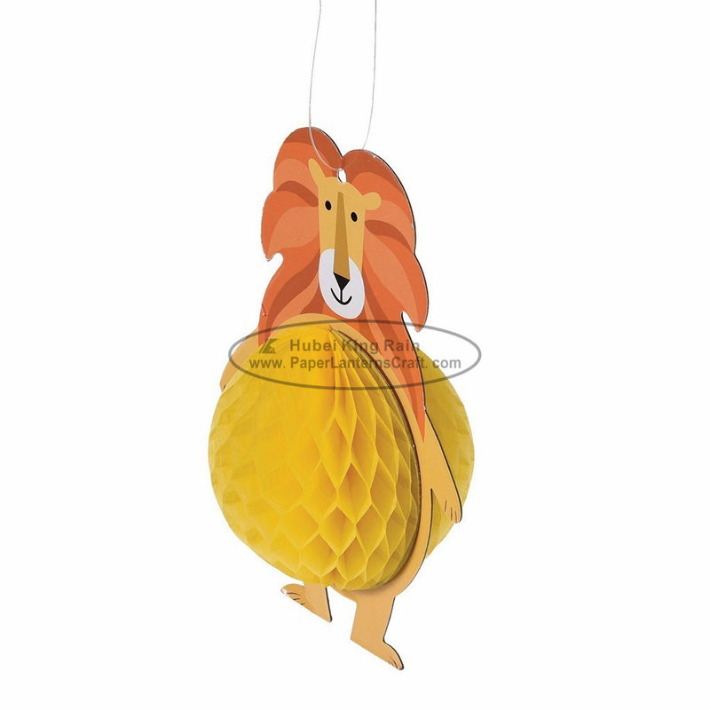 buy Animal lion honeycomb hanging paper lantern lights festival baby shower indoor decoration online manufacturer